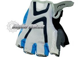 Luva de Ciclismo Shimano Meio Dedo Branca com Azul S